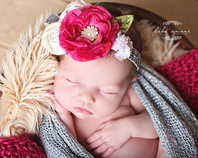 baby flower headband with leaves