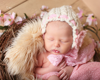 newborn bonnet prop pink bebe amour by leslie lane