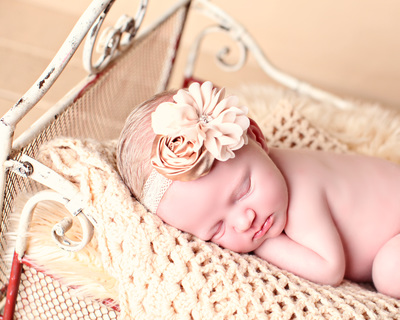cream silk baby headband