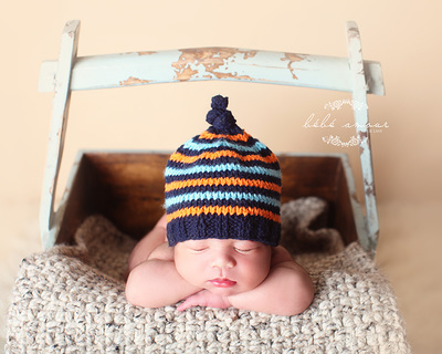 newborn boy blue orange knit hat bebe amour by leslie lane