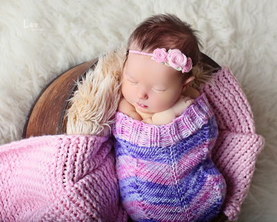 newborn cocoon prop purple pink bebe amour by leslie lane