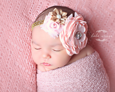 newborn headband multi flowers pink