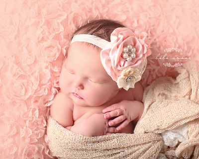 pink and cream flower headband newborn