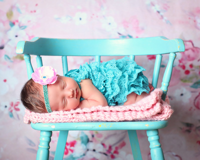 teal baby headband with pink flower