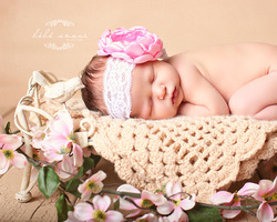 pink lace flower headband baby bebe amour by leslie lane