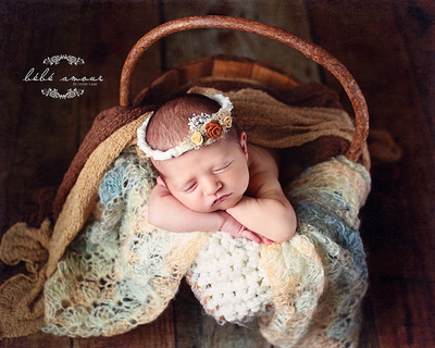wood flower baby headband prop bebe amour by leslie lane